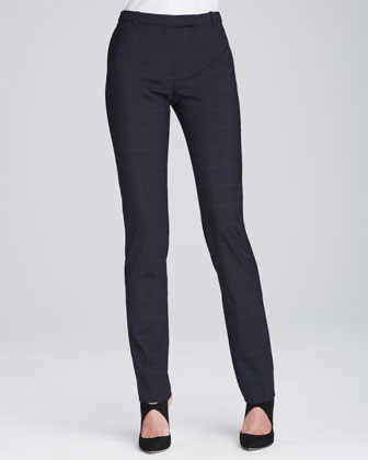 Slim-Leg Tab Trousers, Navy/Multi