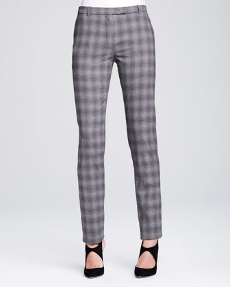 Slim-Leg Tab Trousers, Soft Gray/Multi