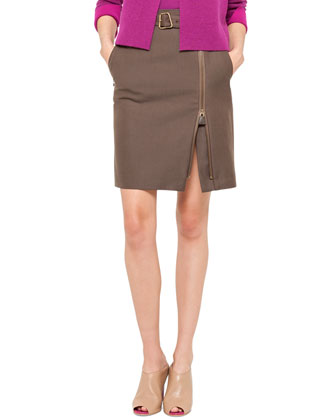 Belted Side-Zip Skirt