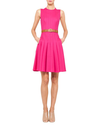 Sleeveless Belted Pleat Dress