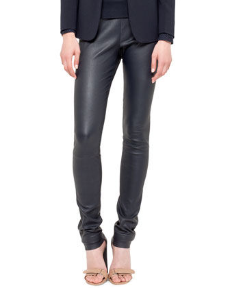 Techno-Wool Blazer, Mesh-Top Shirt & Stretch Leather Skinny Pants