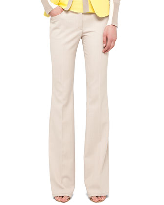 Faye Boot-Cut Stretch-Wool Pants