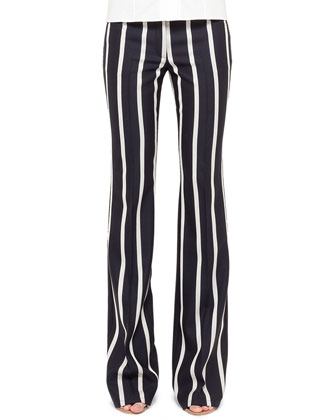 Striped Boot-Cut Pants