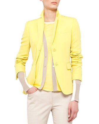 Fitted Techno-Wool Blazer, Colorblock V-Neck Cardigan and Split-Hem Tank & Boot-Cut Pants