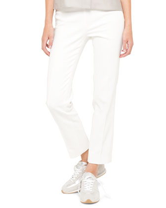Short-Sleeve Awning Stripe Blouse and France Side-Zip Ankle Pants