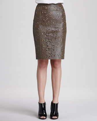 Sleeveless Crepe Blouse with Pocket & Laser-Cut Leather Pencil Skirt