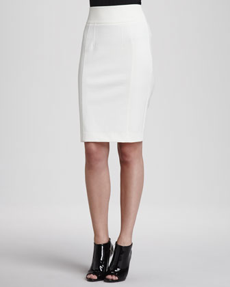 Jersey Back-Zip Pencil Skirt