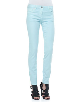 5-Pocket Solid Skinny Jeans, Light Blue