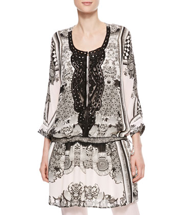 Leather-Bib Printed Georgette Tunic, Black/White