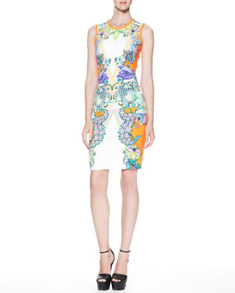 Printed Round-Neck Sheath Dress