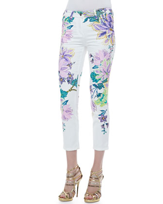 Printed Five-Pocket Skinny Jeans