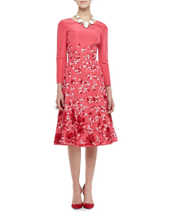 3/4-Sleeve Floral Silk Dress