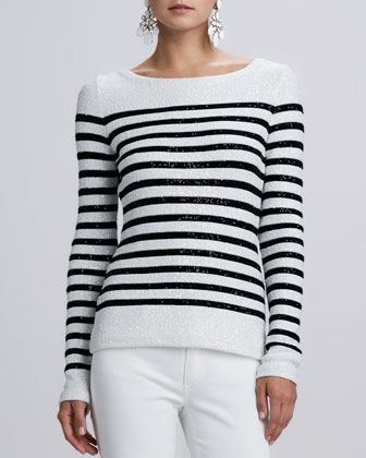 Striped Sequined Long-Sleeve Sweater