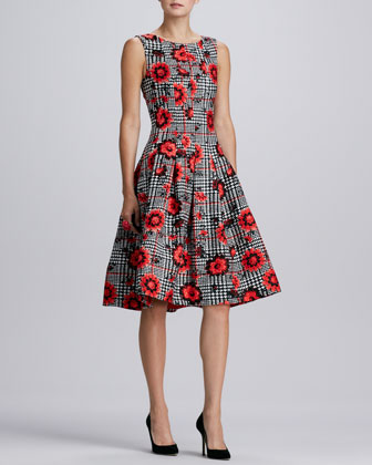 Floral-Houndstooth Cloque Dress