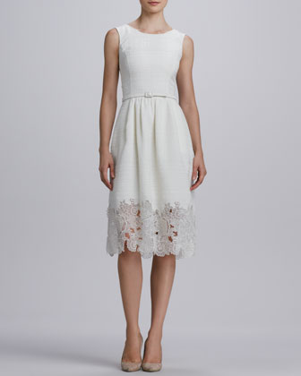 Belted Eyelet-Hem Dress