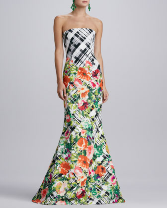Floral Plaid Gown, Black/White/Multi