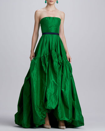 Strapless Silk Ball Gown, Kelly Green