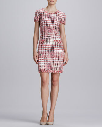 Short-Sleeve Tweed Dress with Pockets