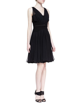 Gathered V-Neck Silk Chiffon Dress, Black