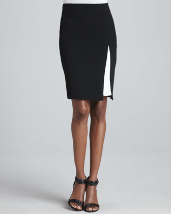 Contrast-Detailed Skirt, Black/White