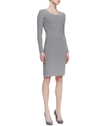 Long-Sleeve V-Neck Sheath Dress, Gray