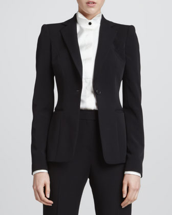 One-Button Slip-Pocket Jacket, Contrast-Button Silk Tuxedo Blouse & Straight-Leg Suiting Pants
