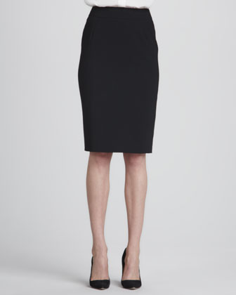 Straight Wool Skirt, Black