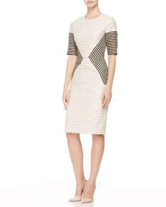 Striped Peaked-Panel Dress
