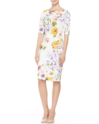 Half-Sleeve Floral Sheath Dress