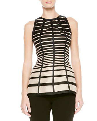 Striped Seamed Halter Blouse