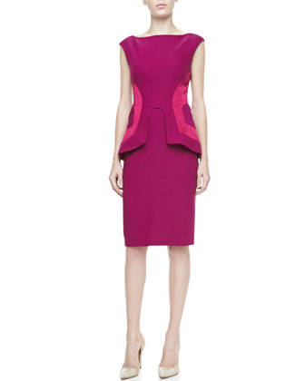 Side-Seamed Peplum Sheath, Fuchsia