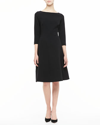 3/4-Sleeve Boat-Neck A-Line Dress, Black