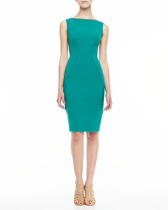 Sleeveless Boat-Neck Sheath Dress, Jade