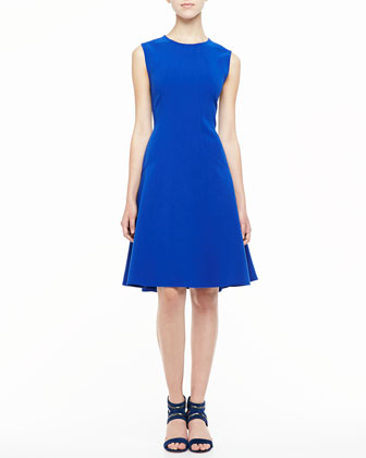 Sleeveless Drop-Waist A-Line Dress, Cobalt