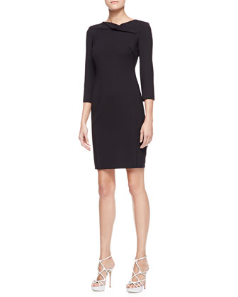 3/4-Sleeve Suiting Dress, Black