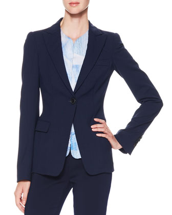 One-Button Stretch Suiting Jacket, Short Gilet Vest & Stretch Suiting Tapered Ankle Pants