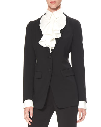Two-Button Stretch Suiting Jacket, Black