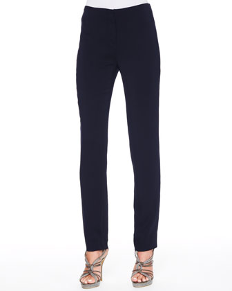 Stretch Suiting Tapered Ankle Pants, Dark Navy