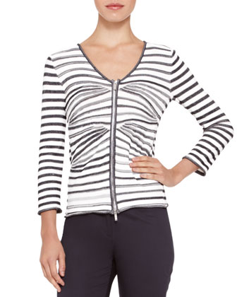 Jacket with Detachable Vest, Mix-Stripe V-Neck Zip Cardigan & Straight-Leg Stretch Cotton Pants