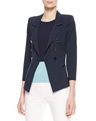 Double-Breasted Stretch Silk Jacket, Colorblock Round-Neck Tank & Slim Tech Pants