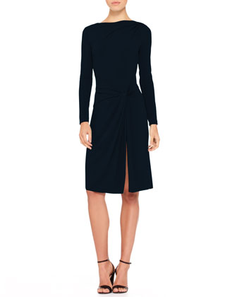 Gathered-Side Jersey Dress
