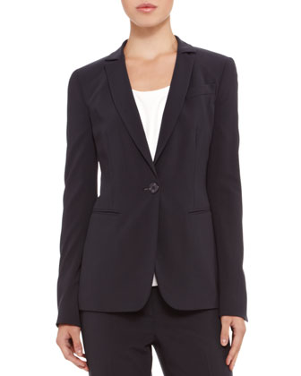 Single-Button Stretch-Wool Blazer, Stretch-Silk Draped Top & Slim-Leg Cropped Trousers