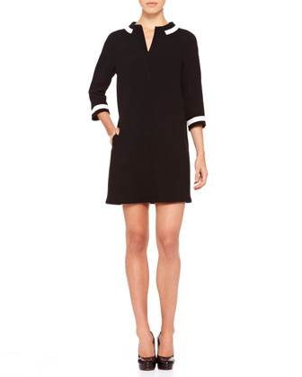 Contrast-Trim Crepe Dress