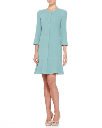 Double-Face Crepe Dress Coat & Sleeveless Flare-Hem Dress