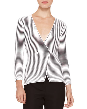 Deep-V Striped Jacket & Straight-Leg Cady Pants