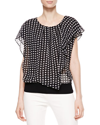Cap-Sleeve Printed Silk Top, Navy