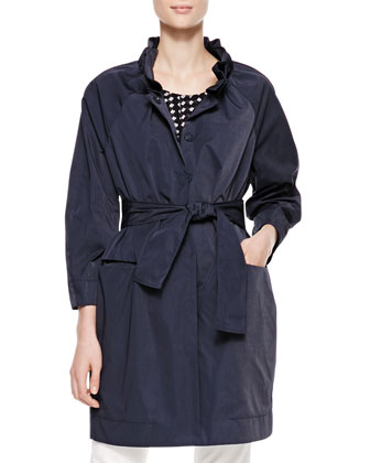 Long Belted Tech Fabric Coat & Cap-Sleeve Printed Silk Top