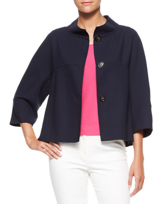 Gabardine Swing Jacket, Navy