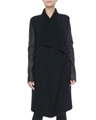 Leather-Sleeve Cashmere Coat, Scoop-Neck Tank & Leather-Piped Skinny Pants