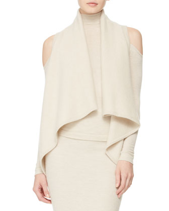 Cashmere Asymmetric Vest, Cold-Shoulder Turtleneck & Long Tube Skirt